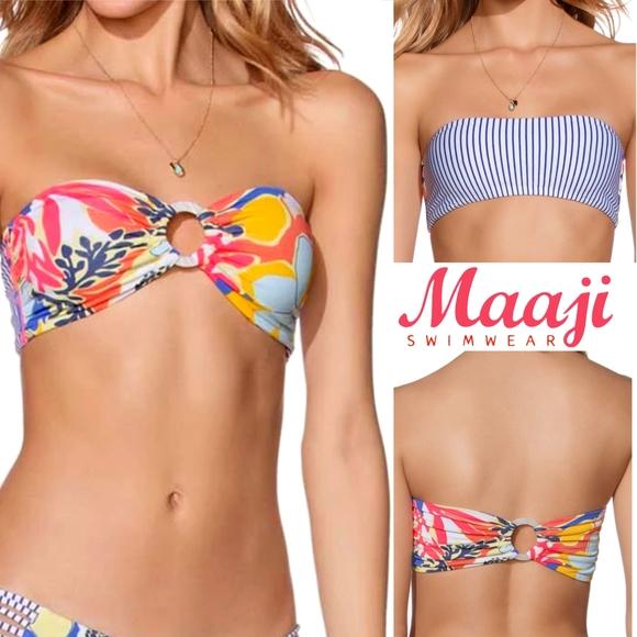 Maaji Other - Maaji Banda Blues Bandeau Bikini TOP reversible